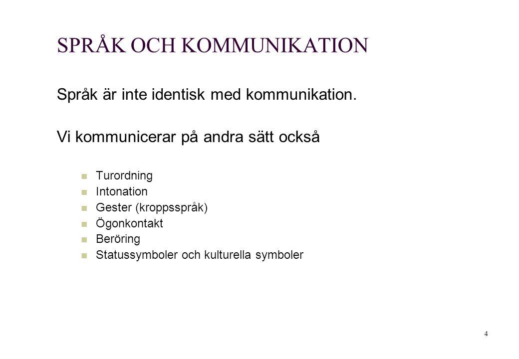 SPRÅK OCH KOMMUNIKATION