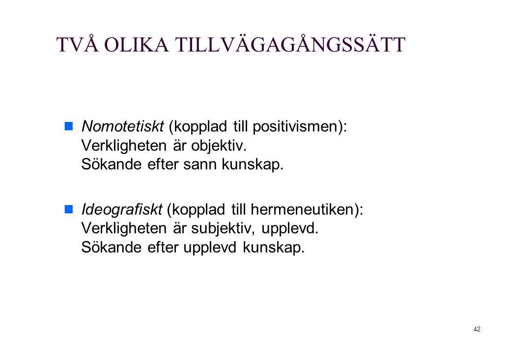 TVÅ OLIKA TILLVÄGAGÅNGSSÄTT