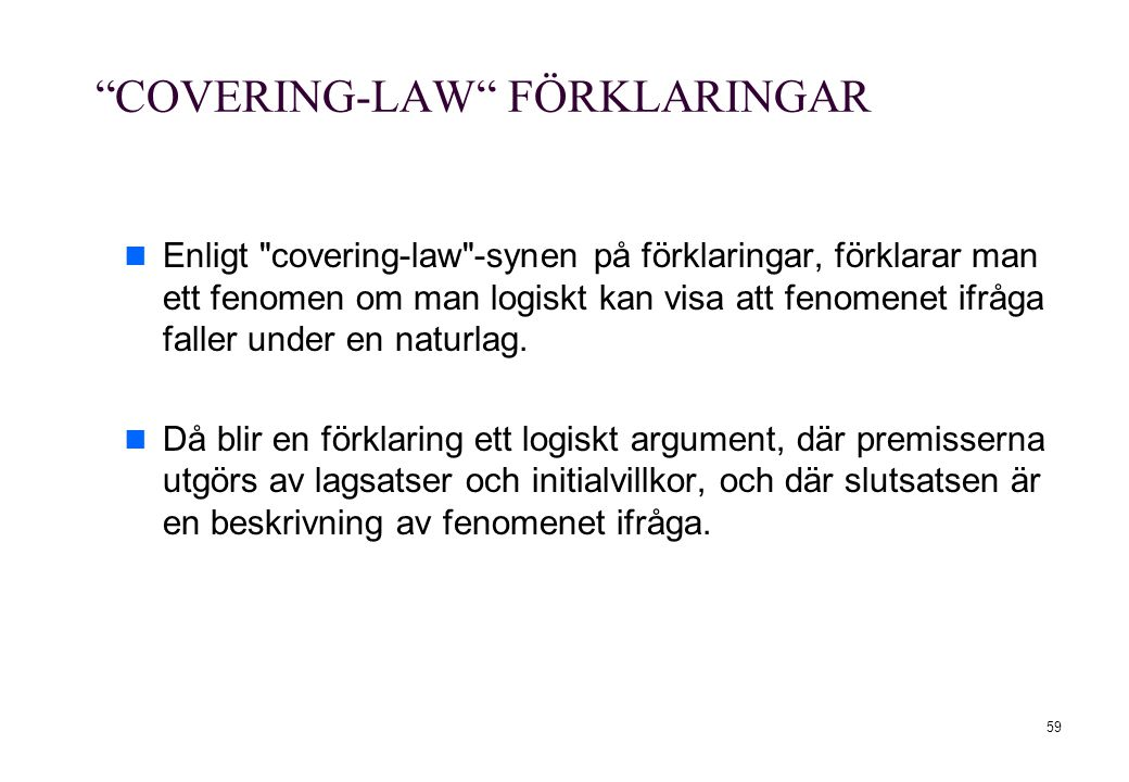 COVERING-LAW FÖRKLARINGAR