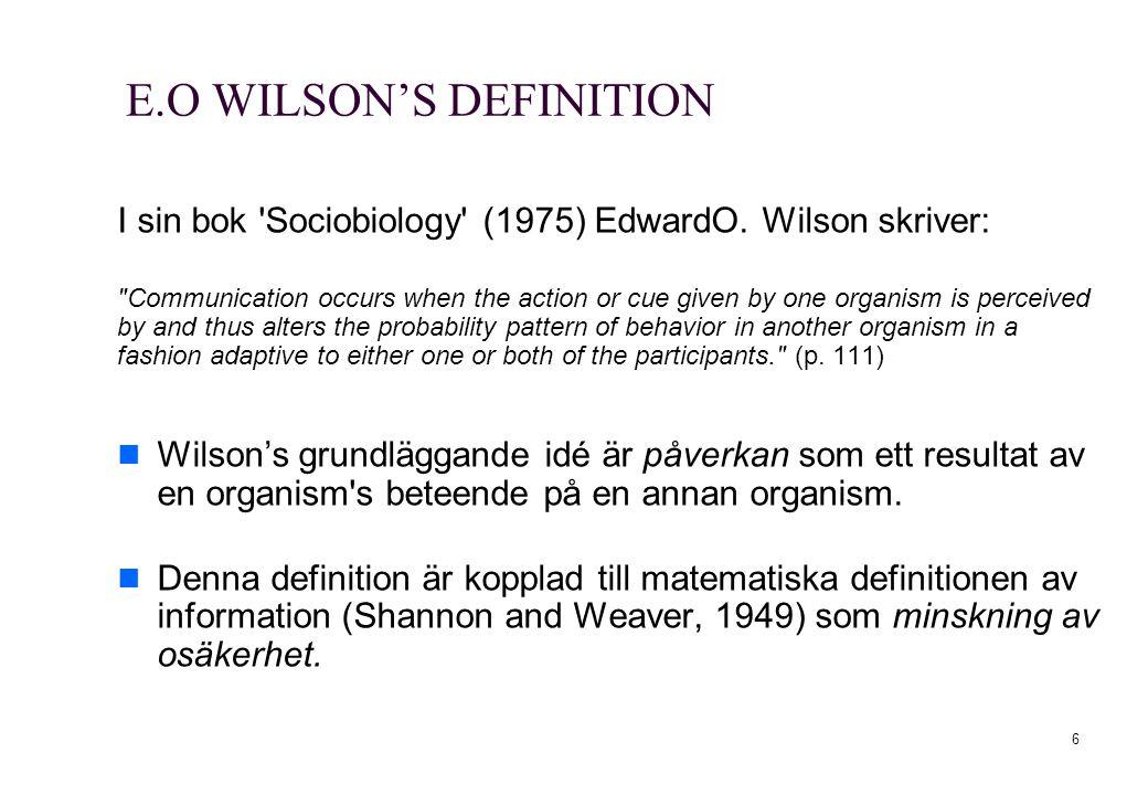 E.O WILSON'S DEFINITION