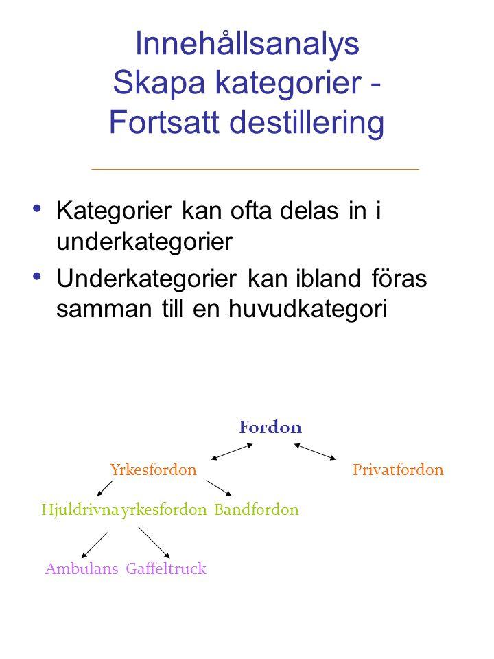 Innehållsanalys Skapa kategorier - Fortsatt destillering