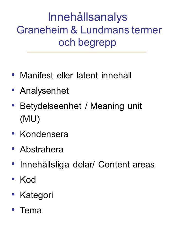 Innehållsanalys Graneheim & Lundmans termer och begrepp