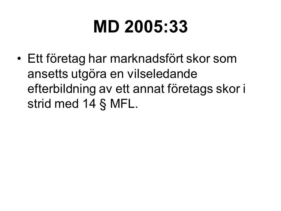 MD 2005:33 Ett företag har marknadsfört skor som ansetts utgöra en vilseledande efterbildning av ett annat företags skor i strid med 14 § MFL.