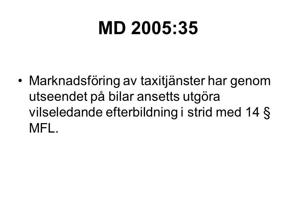 MD 2005:35 Marknadsföring av taxitjänster har genom utseendet på bilar ansetts utgöra vilseledande efterbildning i strid med 14 § MFL.