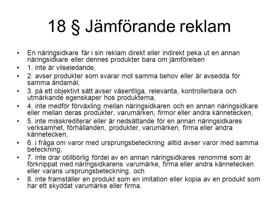 18 § Jämförande reklam