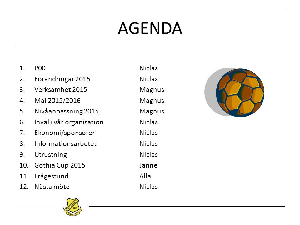 AGENDA P00 Niclas Förändringar 2015 Niclas Verksamhet 2015 Magnus