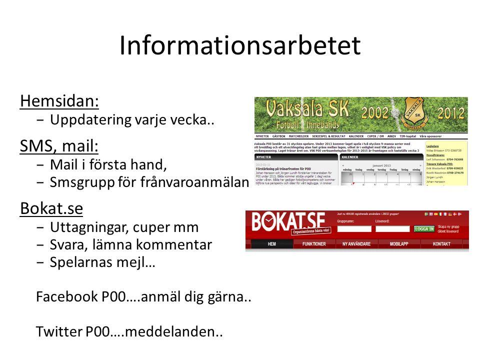 Informationsarbetet Hemsidan: SMS, mail: Bokat.se