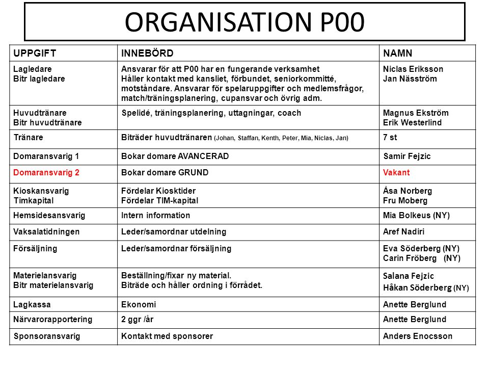 ORGANISATION P00 UPPGIFT INNEBÖRD NAMN Salana Fejzic