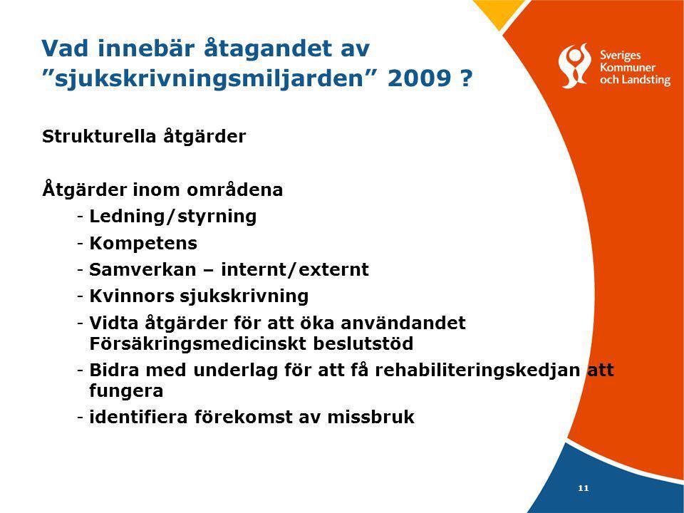 Vad innebär åtagandet av sjukskrivningsmiljarden 2009