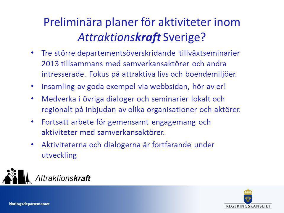 Preliminära planer för aktiviteter inom Attraktionskraft Sverige