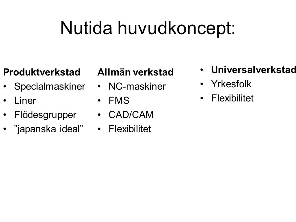 Nutida huvudkoncept: Universalverkstad Yrkesfolk Flexibilitet