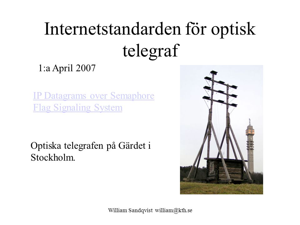 Internetstandarden för optisk telegraf