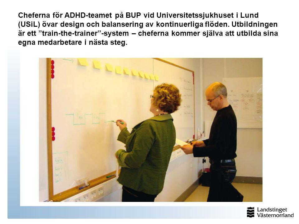 Cheferna för ADHD-teamet på BUP vid Universitetssjukhuset i Lund (USiL) övar design och balansering av kontinuerliga flöden.