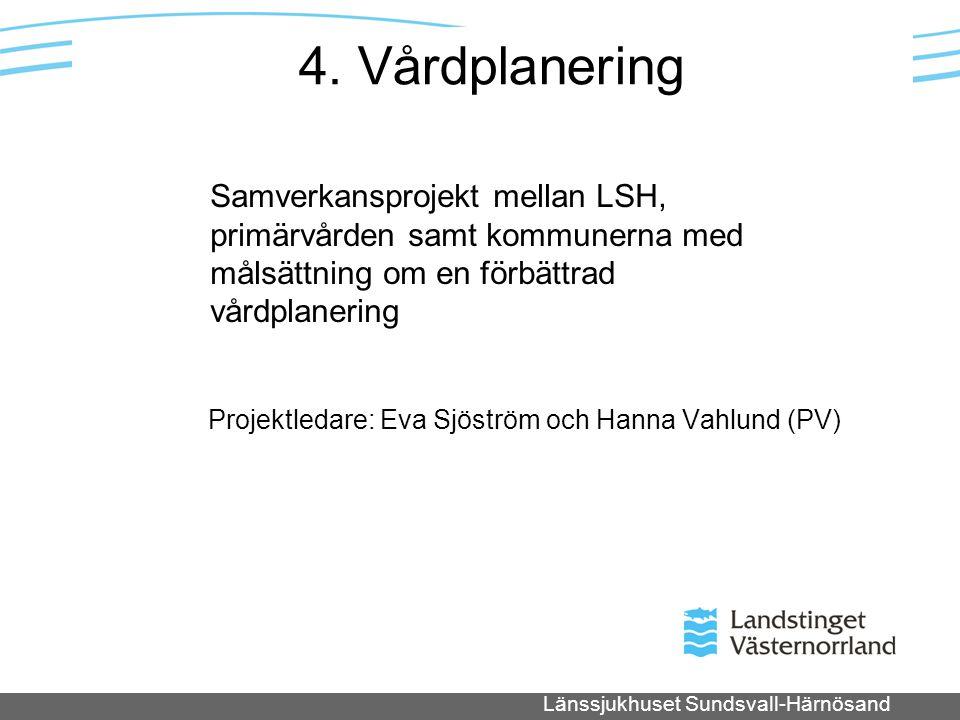 4. Vårdplanering Projektledare: Eva Sjöström och Hanna Vahlund (PV)