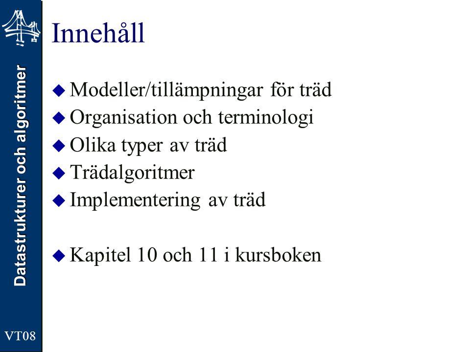 Innehåll Modeller/tillämpningar för träd Organisation och terminologi