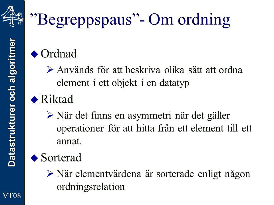 Begreppspaus - Om ordning
