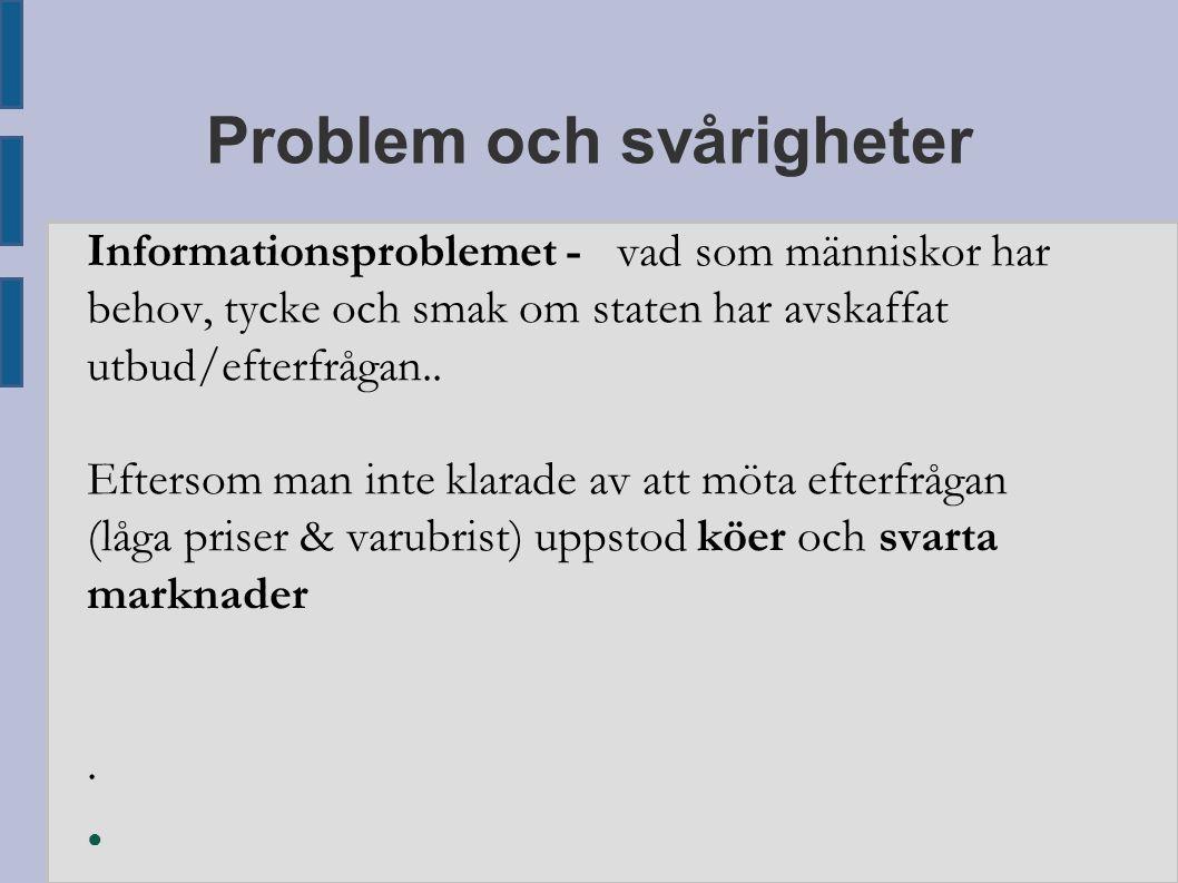Problem och svårigheter