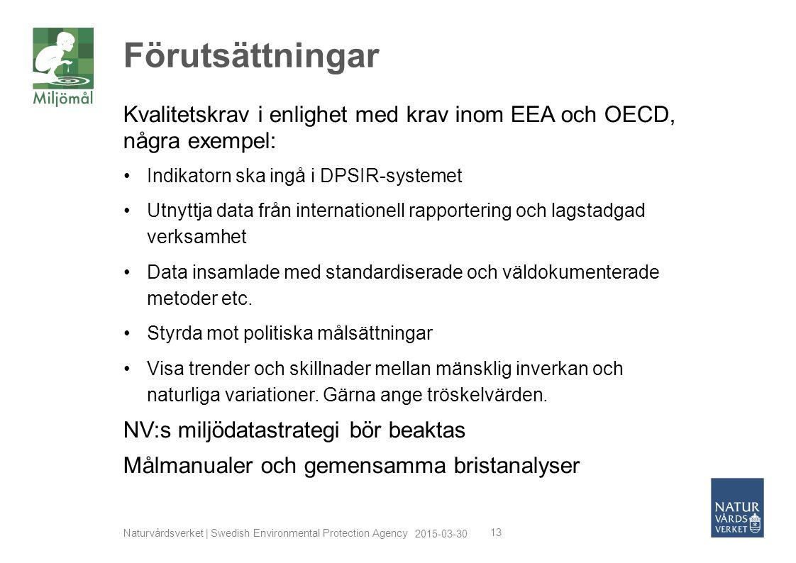 Förutsättningar Kvalitetskrav i enlighet med krav inom EEA och OECD, några exempel: Indikatorn ska ingå i DPSIR-systemet.