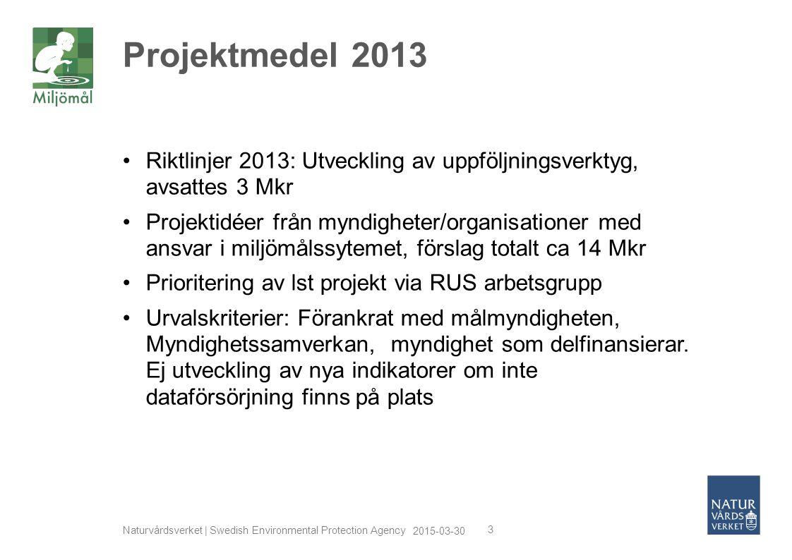 Projektmedel 2013 Riktlinjer 2013: Utveckling av uppföljningsverktyg, avsattes 3 Mkr.