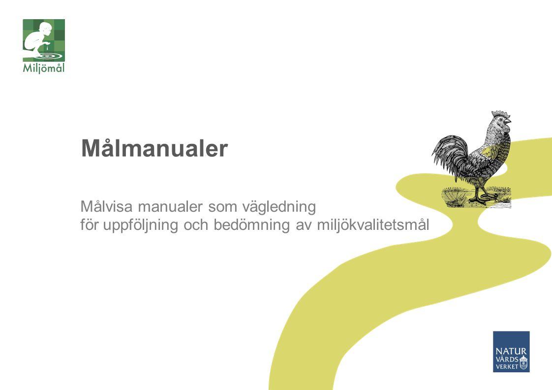 Målmanualer Målvisa manualer som vägledning för uppföljning och bedömning av miljökvalitetsmål Krav på transparens i uppföljning och bedömning.