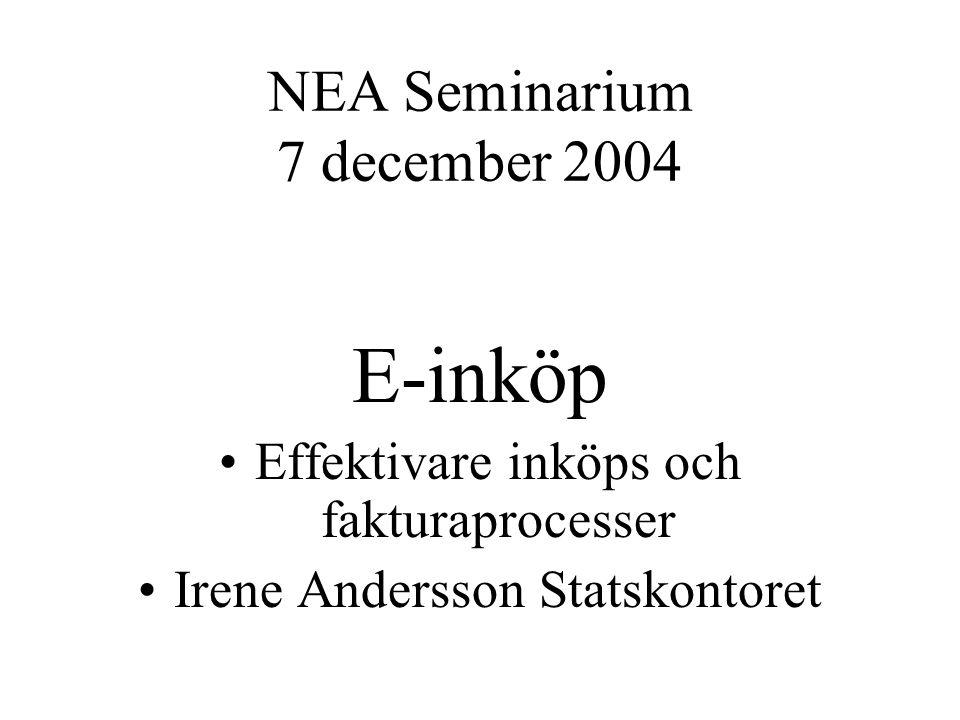 NEA Seminarium 7 december 2004