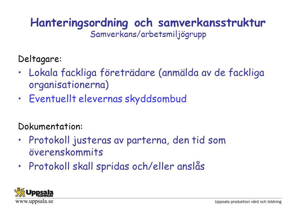 Hanteringsordning och samverkansstruktur Samverkans/arbetsmiljögrupp