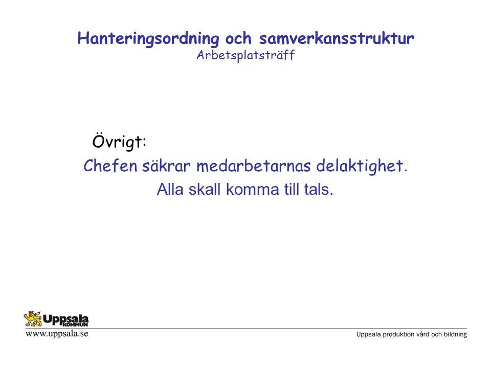 Hanteringsordning och samverkansstruktur Arbetsplatsträff