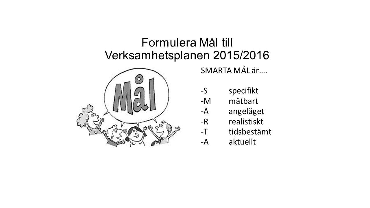 Formulera Mål till Verksamhetsplanen 2015/2016