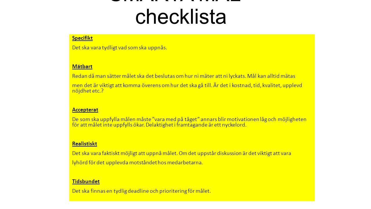 SMARTA MÅL - checklista