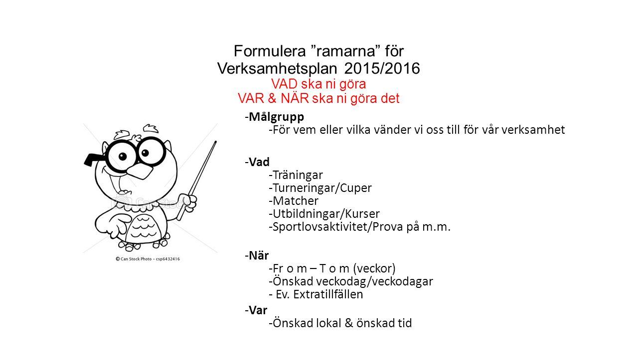 Formulera ramarna för Verksamhetsplan 2015/2016 VAD ska ni göra VAR & NÄR ska ni göra det