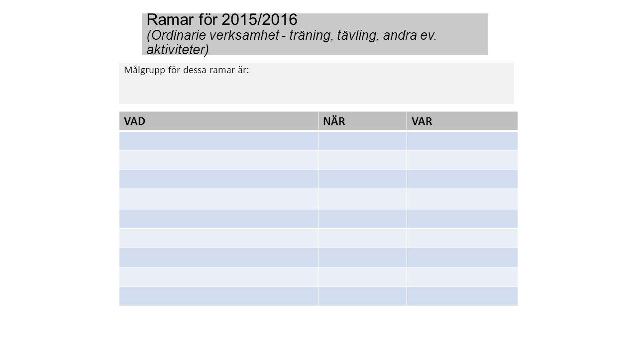 Ramar för 2015/2016 (Ordinarie verksamhet - träning, tävling, andra ev