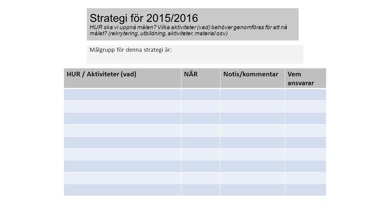 Strategi för 2015/2016 HUR ska vi uppnå målen