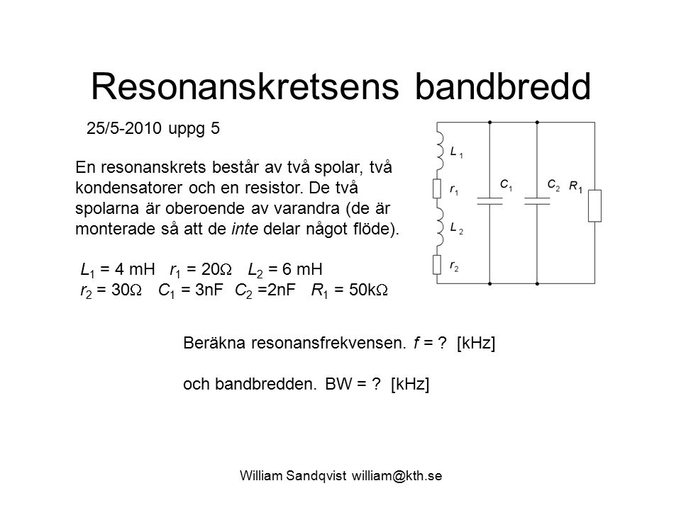 Resonanskretsens bandbredd