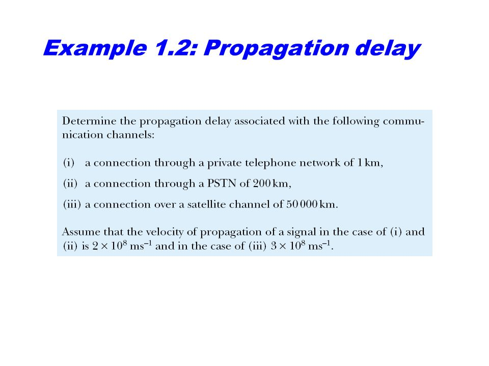 Example 1.2: Propagation delay