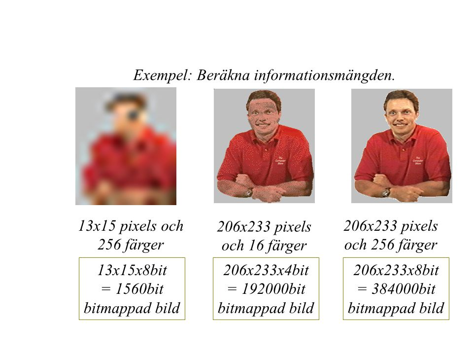 Exempel: Beräkna informationsmängden.