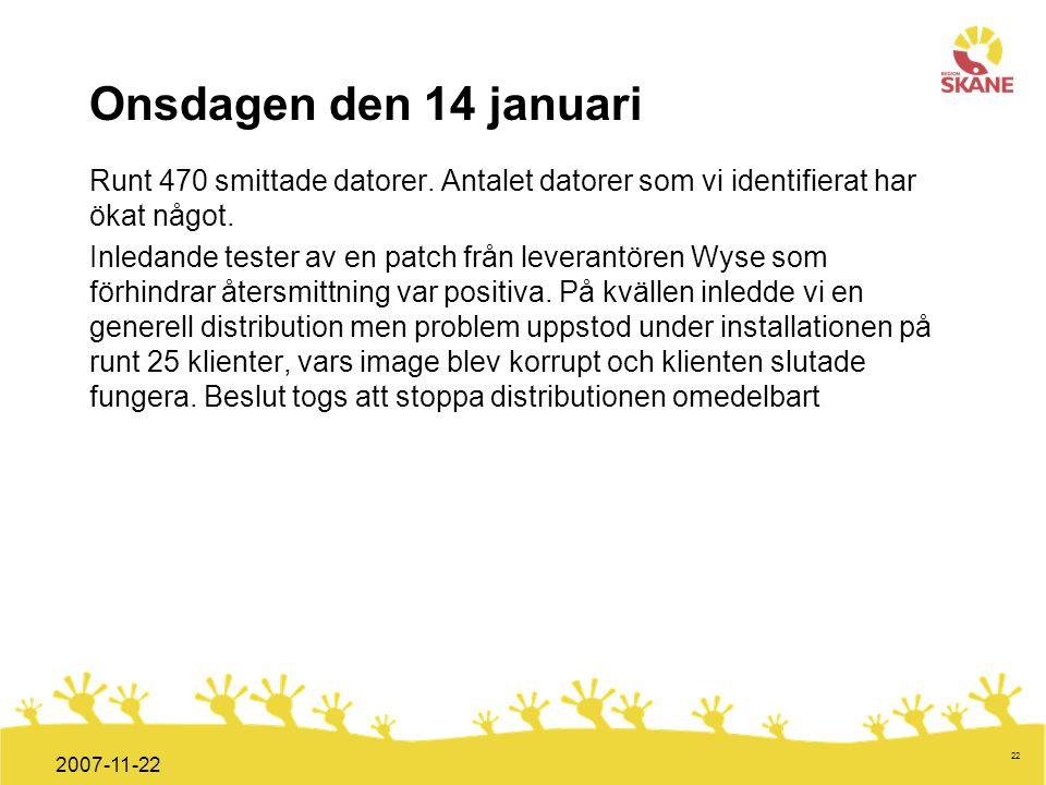 Onsdagen den 14 januari Runt 470 smittade datorer. Antalet datorer som vi identifierat har ökat något.