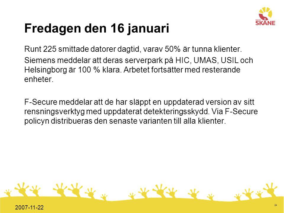 Fredagen den 16 januari Runt 225 smittade datorer dagtid, varav 50% är tunna klienter.