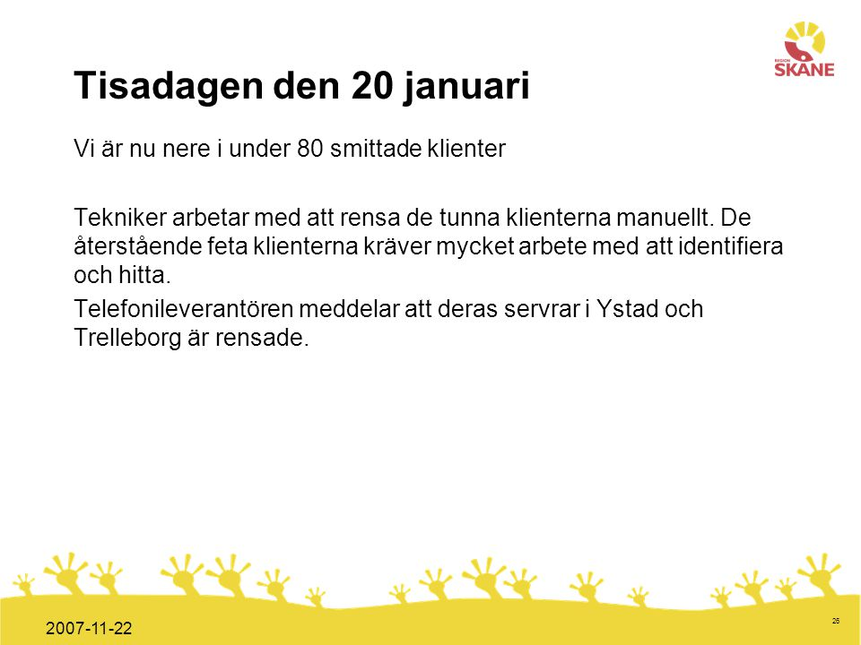 Tisadagen den 20 januari Vi är nu nere i under 80 smittade klienter