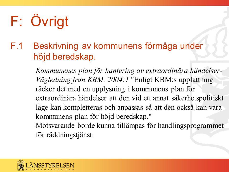 F: Övrigt F.1 Beskrivning av kommunens förmåga under höjd beredskap.