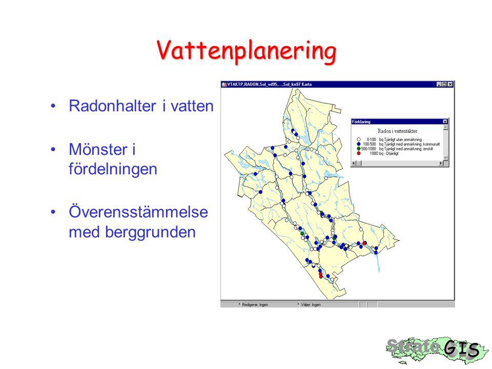 Vattenplanering Radonhalter i vatten Mönster i fördelningen