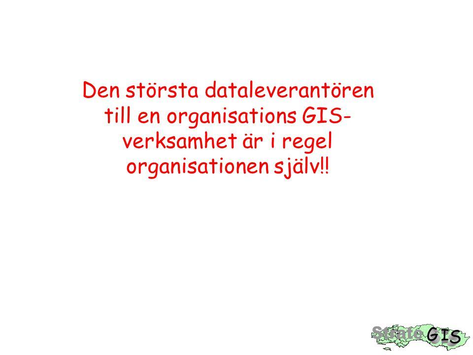 Den största dataleverantören till en organisations GIS-verksamhet är i regel organisationen själv!!