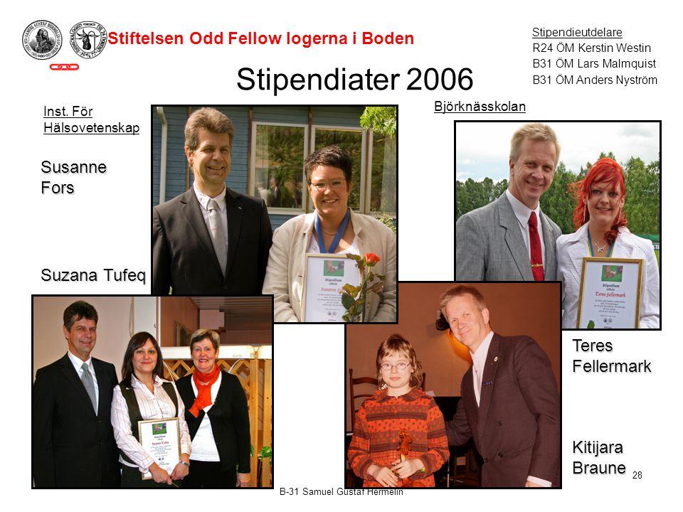 Stipendiater 2006 Stiftelsen Odd Fellow logerna i Boden Susanne Fors