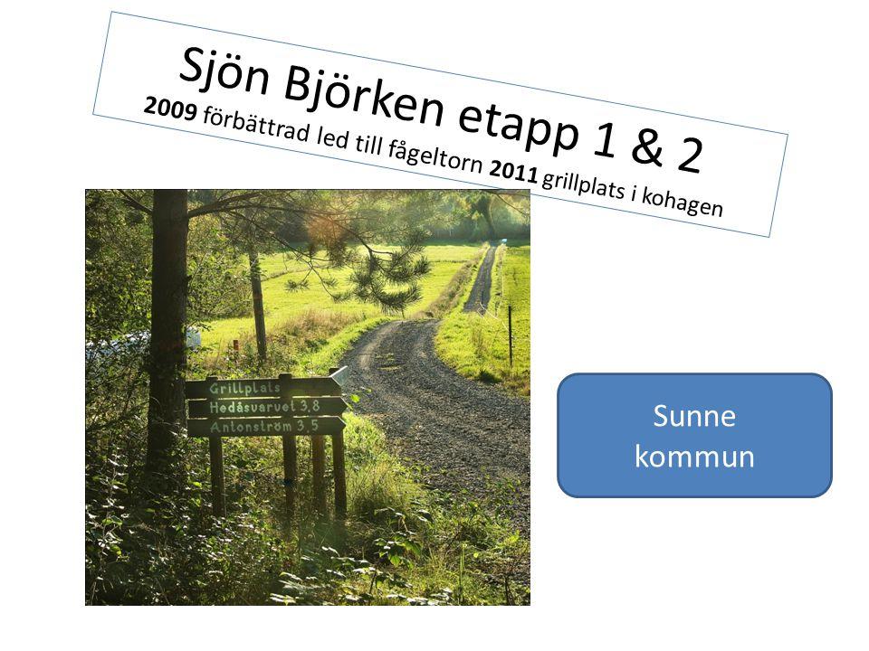 Sjön Björken etapp 1 & 2 2009 förbättrad led till fågeltorn 2011 grillplats i kohagen