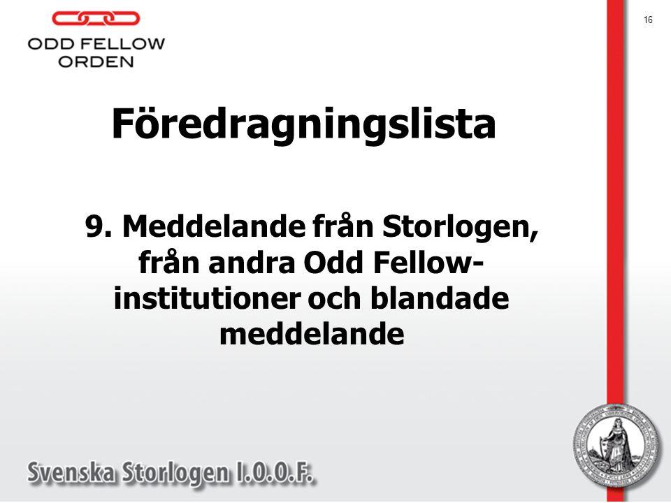 Föredragningslista 9. Meddelande från Storlogen, från andra Odd Fellow-institutioner och blandade meddelande.