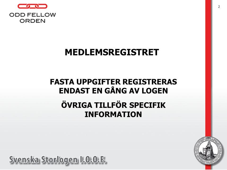 MEDLEMSREGISTRET FASTA UPPGIFTER REGISTRERAS ENDAST EN GÅNG AV LOGEN