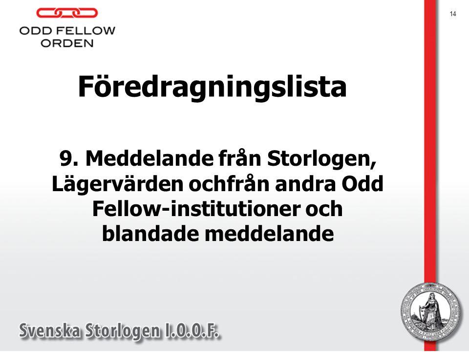 Föredragningslista 9. Meddelande från Storlogen, Lägervärden ochfrån andra Odd Fellow-institutioner och blandade meddelande.