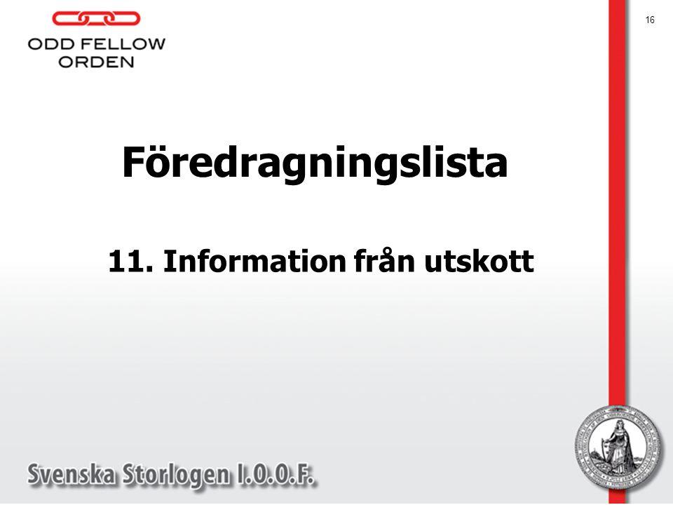 11. Information från utskott