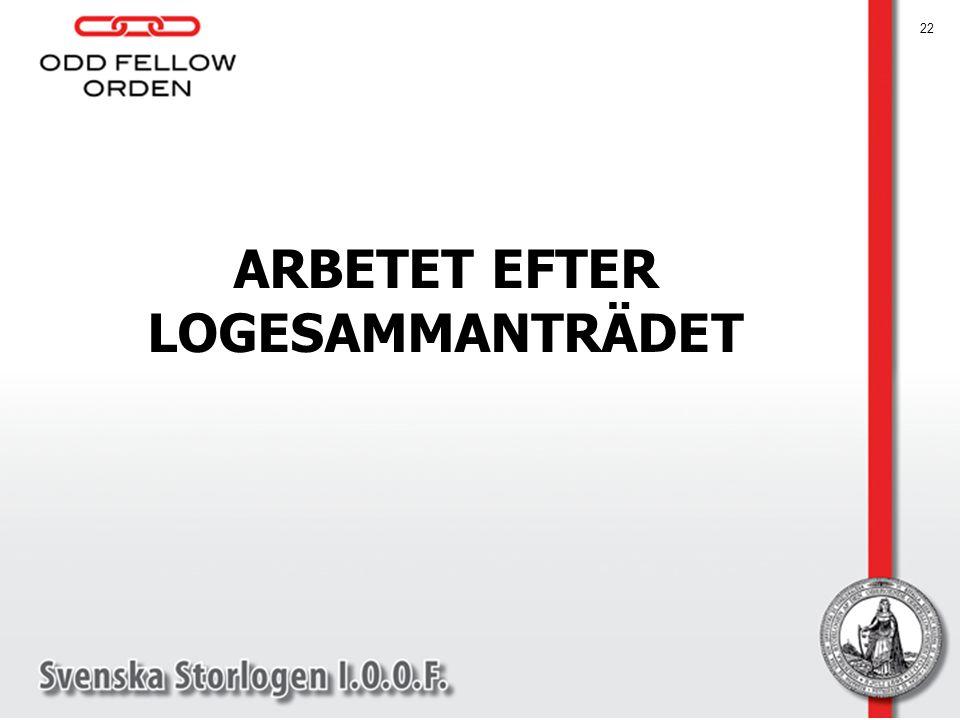 ARBETET EFTER LOGESAMMANTRÄDET