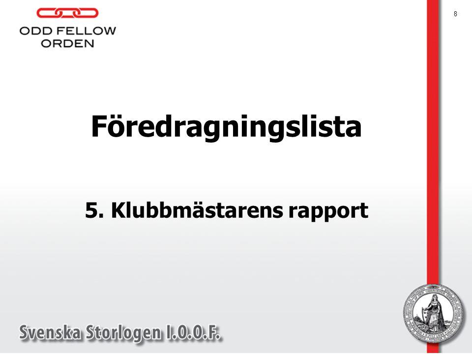 5. Klubbmästarens rapport