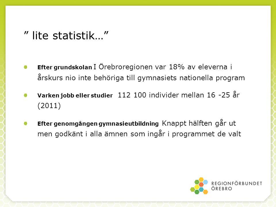 lite statistik… Efter grundskolan I Örebroregionen var 18% av eleverna i årskurs nio inte behöriga till gymnasiets nationella program.